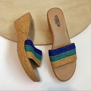 Seychelles straw and cork wedges